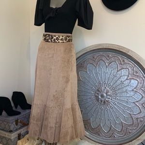Chico's 100% Suede Leather Midi Boho Skirt NWOT